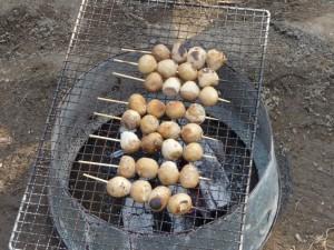 里芋を焼いてます